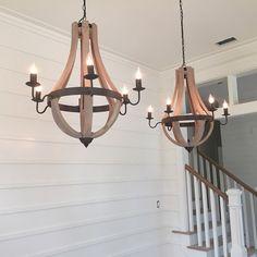 We've got electricity! Oh happy day!!! #shiplap #chandeliers #winebarrel #whitedove #farmhouse #coastal #progress #interiors