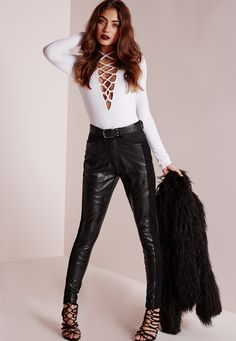 Missguided - Faux Leather Detail Pants Black
