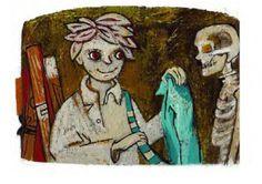Cuento: El esqueleto de la biblioteca, de Silvia Schujer. Ahí estaba yo. Entre un montón de mapas enrollados como tubos y el armario...