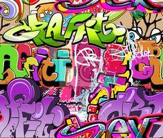 Tableau ou Poster Mur de graffiti. Urban fond de vecteur de l