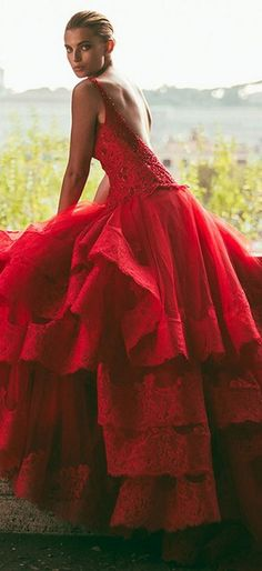 {Alessandro Angelozzi Red Couture Gown 2015} ❥❥Haute Tramp