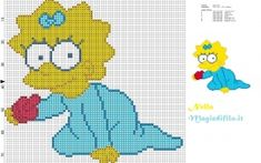 Maggie Simpson crawling with pacifier