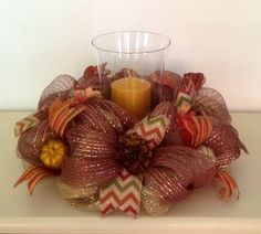 """16"""" Burlap/Gold and Bronze Deco Mesh Fall Centerpiece with 9"""" Hurricane"""