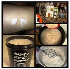 Lush Almond Coconut Shower Smoothie Hack DIY. It was discovered by me and by accident click on the picture it will take you to my blog where you can follow for more product hacks and beauty DIYs for daily updates. share this pin