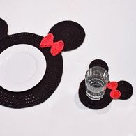 Receita • Sousplat de Crochê Mickey e Minnie