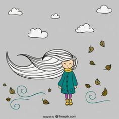 Vector chica en otoño