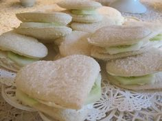 Google Image Result for heart shaped cucumber sandwiches.