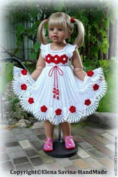 Crochet pink and gray baby dress set with rosebuds comes wi Crochet Dress Girl, Crochet Baby Dress Pattern, Crochet Doll Clothes, Crochet Girls, Baby Knitting Patterns, Crochet For Kids, Baby Patterns, Crochet Patterns, Crochet Dresses