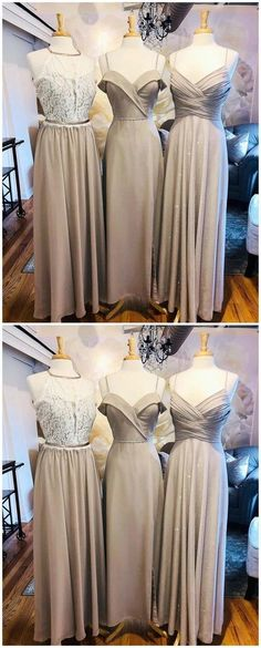 Mismatched Champagne Long Bridesmaid Dresses Online, Cheap Bridesmaids Dresses, WG699#bridesmaids #bridesmaiddress #bridesmaiddresses #dressesformaidofhonor #weddingparty #2020bridesmaiddresses