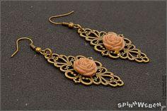 Victorian Flower Earrings  Steampunk bronze Czech by SpinnWeben