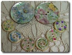 Mother of Pearl Buttons - Hand Painted with Florals