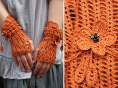 lacy open work crocheted fingerless gloves