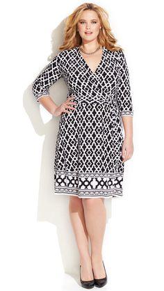 Plus Size Geo-Print Faux-Wrap Dress