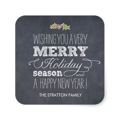 Stylishly Chalked Christmas/ Holiday Stickers Stickers | Visit the Zazzle Site for More: http://www.zazzle.com/?rf=238228028496470081