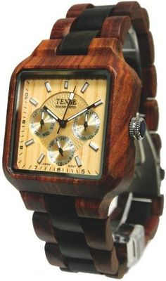 Click Image Above To Purchase: Tense Wood Mens Dark Multifunction Wood Watch - Wood Bracelet - Wood Dial - B7305sd