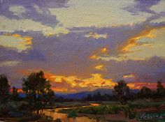 Day's End,Quiet Stream by robert kuester  ~ 9 x 12