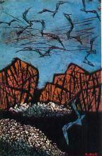 """След на воде"" -  1973 - Тадасигэ Оно Texture, Wood, Prints, Painting, Art, Surface Finish, Art Background, Woodwind Instrument, Timber Wood"
