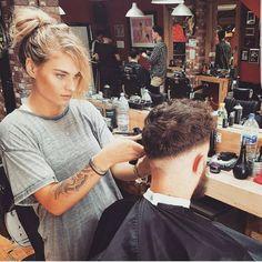 @maloneyface deep in that skin fade stare… ✂#fade #londonbarber #hair #classic #beer #styling #instagood #femalebarber #haircare #barberlife #barber #hairstyle #haircut #barbershopconnect #model #men #beard #barbershop #menstyle #hairstylist...