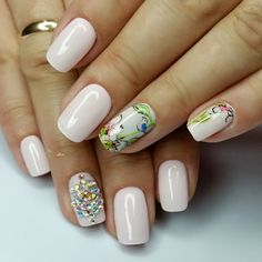 Charming nails, Cool nails, Fantasy nails, May nails, Milky nails, Nails for dairy dress, Nails with stickers, Nails with stones