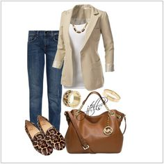 Such an easy ensemble to pull together: jeans, white shirt, blazer, and leopard-print shoes. Mode Outfits, Fall Outfits, Casual Outfits, Fashion Outfits, Womens Fashion, Fashion Trends, Fashion Over, Look Fashion, Work Casual