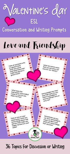 Variety of questions about students' thoughts about love and friendship. Includes several quotes about love and encourages reflection about the meaning and giving personal opinions. This set of Valentine's Day topics can be used with a wide variety of ages, including adult #ESL students. They can be used as journal topics for writing and reflection or with English language learners for discussion and conversation practice.