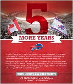 Buffalo Bills at the Rogers Centre. Perfect for the NFL fan in your bridal party!
