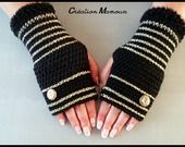 "Mitaines crochetées mains ""Gold and Black"" : Mitaines, gants par mamountricote"