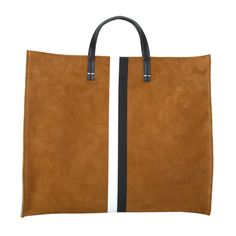 Camel-Suede-BlackWhite-Stripes-Simple-Tote