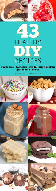 Here are 43 Healthy DIY Recipes that taste just as good as (or better than!) the originals. If you've ever wanted to make your favorite foods at home, and make them healthy while you're at it, then this post is written for YOU! We've got DIY Nut Butters, Rainbow Sprinkles, Nutella, Gummy Bears, Candy Bars (yes, seriously), DIY Protein Bars, and way more – Healthy Dessert Recipes at Desserts with Benefits
