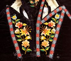 Embroidery West-Telemark, Norway Folk Costume, Costumes, Unique Flowers, Norway, Vest, Flower Embroidery, Blazer, Wool, Folklore