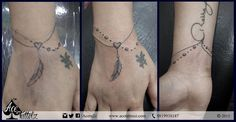 """#Bracelet a totally #freehand job, Client wanted to connect the old tattoo of her parents name through a #heart along with a #feather, connected the elements beautifully with a simple string and a series of beads! #family #love #tattoo  www.acetattooz.com  Artist:- #AdityaPanchu Placement:- Wrist (bracelet) Size:- 7"""" x 3"""" approx"""