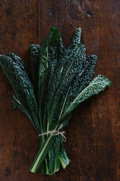 In Season - February. Cavolo Nero is a loose-leafed cabbage from Tuscany, Italy, with very dark green, almost black, leaves, hence it's name, black cabbage.