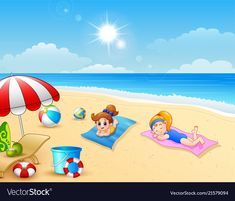 Two girl sunbathing on the beach mat vector image on VectorStock Drawing For Kids, Painting For Kids, Art For Kids, Crafts For Kids, War Photography, Types Of Photography, Learning Spanish For Kids, Oil Pastel Paintings, Journal Themes