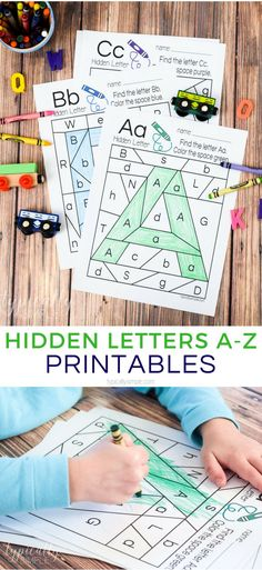 These hidden letter printables are a great way to practice letter recognition. Grab a few crayons and start coloring to find the hidden letters. Perfect for preschool or early elementary as a way to practice letter identification and fine motor skills. #printables #alphabetactivities #kidspiration