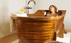 Awesome wooden soaking tub! Only in my dreams!