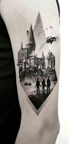 300 Unique Harry Potter Tattoos and Ideas The Ultimate Collection Tattoo Me Now Harry Tattoos, Leg Tattoos, Small Tattoos, Sleeve Tattoos, Harry Potter Tattoos Sleeve, Burg Tattoo, Hp Tattoo, Hogwarts Tattoo, Jarry Potter