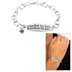 Never Far Apart Purple Paw Bracelet at The Animal Rescue Site