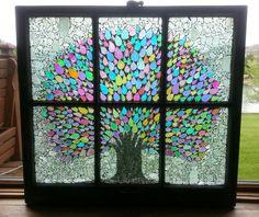 OOAK Dichroic Glass Mosaic Tree Vintage 6 by NicoleMarieArtistry Mosaic Garden, Mosaic Art, Mosaic Glass, Glass Art, Garden Art, Faux Stained Glass, Stained Glass Patterns, Window Pane Art, Window Frames