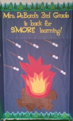 My camping themed Welcome Back bulletin board.  The students' names are written on the marshmallows.