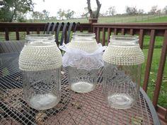 Mason Jar Centerpiece Vases - Lace, & Pearls