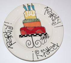 Party Party Party Birthday Plate by Mypolkadotpottery on Etsy Birthday Plate, It's Your Birthday, Painted Plates, Painted Pottery, Pottery Painting Designs, Sharpie Crafts, Paint Your Own Pottery, Plate Art, Personalized Cups