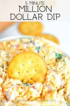 Dollar Dip with Mayonaise, Cheddar Cheese, Bacon, Slivered Almonds and Green Onions - Easy 5 Minute Dip Recipe Neiman Marcus Dip, Ginger Ale, Appetizers For Party, Appetizer Recipes, Simple Appetizers, Party Dips, Easy Appetizer Dips, Easy Dip Recipes, Tailgate Appetizers