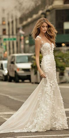 24 Romantic Bridal Gowns Perfect For Any Love Story ❤️ romantic bridal gowns mermaid sweetheart with train berta ❤️ Full gallery: https://weddingdressesguide.com/romantic-bridal-gowns/