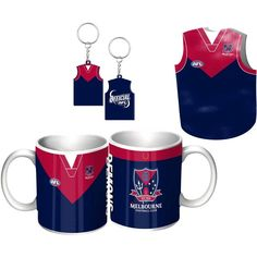 Melbourne Demons Guernsey Giftpack.  This Great Pack Features Guernsey Design Mug, Keyring, & Stubby Cooler.  To see the full range of AFL merch, visit www.shop.afl.com.au