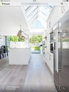 White kitchen to garden