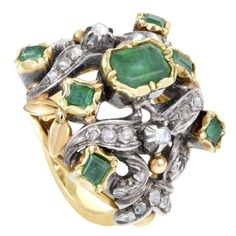 Antique Diamond Emerald Yellow Gold Silver Cocktail Ring Circa 20th century