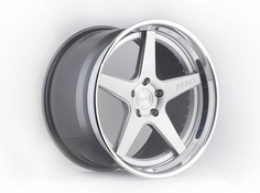 ADV5 Trackspec 3 Piece Forged Wheel with Brushed face, Polished step lip and gloss gunmetal rear barrel
