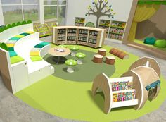 Primary Schools Libraries - BookSpace School Library Design, Home Library Design, Kids Library, Preschool Library, Preschool Decor, Kindergarten Interior, Kindergarten Design, Study Table And Chair, Study Tables