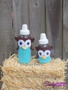 Owl Baby Bottle Cover by April Hubbard (Longhorn Prairie)-Free Craft Patterns