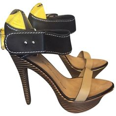 Pre-owned Giuseppe Zanotti Nude Black Yellow Sandals ($242) ❤ liked on Polyvore featuring shoes, sandals, nude black yellow, yellow shoes, high heel clogs, stiletto sandals, black stilettos and high heel shoes